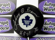 Autograph Warehouse 52823 Johnny Bower Autographed Hockey Puck Toronto Maple Leafs Inscribed Hhof 1976