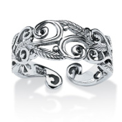 PalmBeach Jewellery 538979 Ornate Scroll-Work Ring in Sterling Silver - Size 9