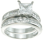 Plutus kkr6098b 925 Sterling Silver Rhodium Finish CZ Princess Solitaire Engagement Ring Size 7