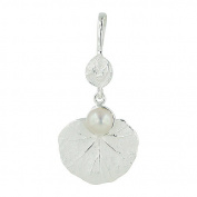 Vera & Co. Inc. 6S-4332FP-E Sterling Silver Pendant Rain Drop on Leaf Fresh Water Pearl