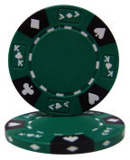 Brybelly Holdings CPAK-GREEN-25 Roll of 25 - Green - Ace King Suited 14 Gramme Poker Chips