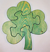 THE PUZZLE-MAN TOYS W-1215 Wooden Educational Jig Saw Puzzle - Shamrock