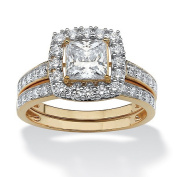 PalmBeach Jewellery 547345 2 Piece 1.93 TCW Princess-Cut CZ Square Halo Bridal Ring Set in 10k Gold - Size 5