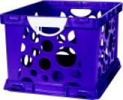 Storex 2-Colour Large Crate With Handles - Purple Vine-White