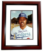 20cm x 25cm . Reggie Smith Autographed Los Angeles Dodgers Photo Mahogany Custom Frame