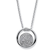 PalmBeach Jewellery 55481 Diamond Accent Double Circle Pendant Necklace In Rhodium-Plated Sterling Silver