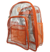 Harvest LM213 Orange Deluxe 17 in. See-through Clear 0.5 mm. PVC Backpack