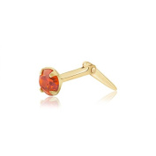9ct yellow gold 3mm round flame orange cubic zirconia cz Andralok nose stud