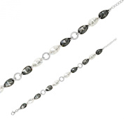 Monella Bracelet 925/1000 Rhodium-Plated with. Elements-White and Black
