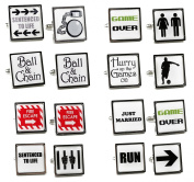 Funny Wedding / Stag Party Square Cufflinks + Gift Boxes - Full Set of 8 Pairs