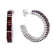 Loox Garnet Women's Earrings in White 925 Sterling Silver with Garnet and White Cubic Zirconia, 8.6 Grammes