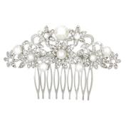 WINOMO Women Girls Bridal Wedding Crystal Rhinestones Pearls Hair Clip Comb