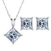 New Arrival Pendant Necklace + Matching Stud Earrings Jewellery Set for Women- Made with Solid Silver & Simulated Diamonds - Quality Gift For Wedding Bridesmaid Party