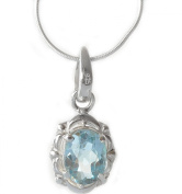 Big Semi Precious BLUE TOPAZ Pure 925 STERLING ILVER Jewellery Set Pendant Necklace and Earrings