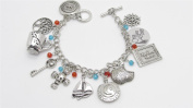 Amazing ONCE UPON A TIME 11 Charm Bracelet - SWAN, Rumbelle, REGINA, Snow White