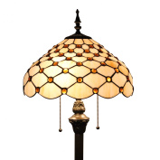 Gweat Tiffany 41cm European Retro Stained Glass White Pearl Series Floor Lamp