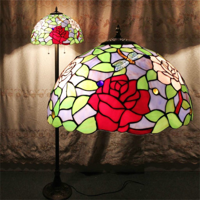41cm European Retro Pastoral Tiffany Floor Lamp Bedroom Bedside Lamps Living Room Sofa Stained Glass Rose Upscale