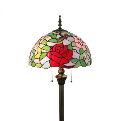 Gweat Tiffany 41cm Pastoral Style Stained Glass Rose Series Floor Lamp