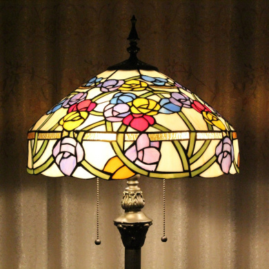 Tiffany 41cm European Pastoral Style Handmade Stained Glass Elegant Orchid Tiffany Floor Lamp