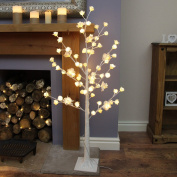 125cm Tall White Rose Twig Tree with 72 Warm White LEDs by Festive Lights