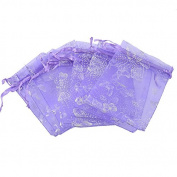 HooAMI Purple Butterfly Organza Gift Bags Wedding/Christmas Favour 25pcs 7x9cm