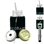 1 Litre SLEEVE, cosy, JACKET, DELUXE Eco Mason Jars Kilner STAINLESS STEEL BRUSH/STRAW EXTRA LID BLANK