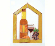 Gift Essentials GE134 Small Wine With Cheese And Grapes Scene Steeple Window Panel