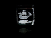 Asfour Crystal 1161-50-13 2 L x 2 H x 2 W in. Crystal Laser-Engraved Old Boat Sealife & Nautical Laser-Cut