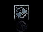 Asfour Crystal 1162-50-133 2 L x 2 H x 1 W in. Crystal Laser-Engraved Friends Forever Love & Hearts Laser-Cut
