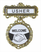 Swanson Christian Supply 80806 Badge Usher Welcome Pin Back Fancy Round Brass