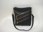 R And R Collection 2-467-1C-BLK Three Front Zipper Cross body Bag Black