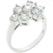 Sunrise Wholesale J3259 10 White Gold Rhodium Bonded CZ Cluster Ring
