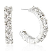 Kate Bissett E01663R-C01 Trillion Cut CZ Hoop Earrings