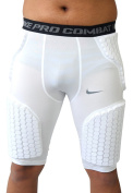 NIKE Men's ATTACK COMP VIS Pro Combat Hyper-strong Dri-Fit Padded Basketball Shorts White