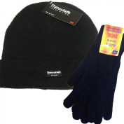 Mens Plain Black Thermal Thinsulate Beanie Hat and Handy Thermal Gloves Set