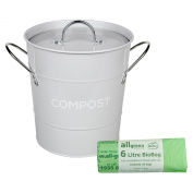 Light Grey Metal Kitchen Compost Caddy & 50x All-Green Biobags - Composting Bin for Food Waste Recycling
