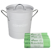 Light Grey Metal Kitchen Compost Caddy & 150x All-Green Biobags - Composting Bin for Food Waste Recycling