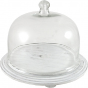 Round Glass Cake Dome on Whitewash Wooden Base