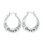Vera & Co. Inc. 2S-5213E Sterling Silver Earring Hoop Latch -Dream Carved word