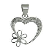 Vera & Co. Inc. 6S-4487CL Sterling Silver Flower On Heart Pendant