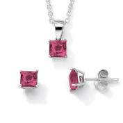 PalmBeach Jewellery 5063110 Birthstone Sterling Silver Pendant 18 Chain and Earrings Set October - Simulated Tourmaline