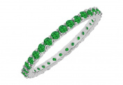 Fine Jewellery Vault UBUGGAGRD1311000E May Birthstone Emerald Bangle in Sterling Silver 10 CT TGW 20th Wedding Anniv Gift