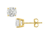 Fine Jewellery Vault UBERAGVY4RD1200CZ Sterling Silver with Vermeil 18K Yellow Gold Cubic Zirconia Stud Earrings 12 Carat Totaling CZ