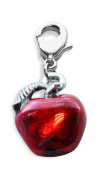 Whimsical Gifts 2051S-red Red Apple Charm Dangle in Silver