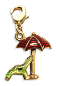 Whimsical Gifts 2368G Beach Chair with Umbrella Charm Dangle in Gold