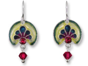 Zarah 21-13-Z1 Ruby Anthemion Silver Plate Earrings