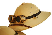 Steampunk-Mad Victorian-Gothic-Explorer KHAKI SAFARI HAT WITH GOGGLES Fits up to a 58cm head