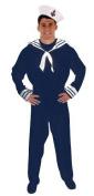 Adults Mens Blue White Navy Sailor Fancy Dress Costume
