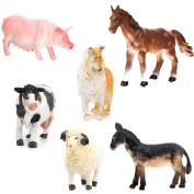 6pcs Model Farm Animal Figures Toy Pig Dog Cow Sheep Horse Donkey