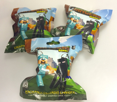 3 x Minecraft Hangers Series 2 Collectable Figures Blind Bags Toy Keychain